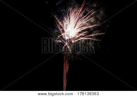 A large exploding firework in the night sky
