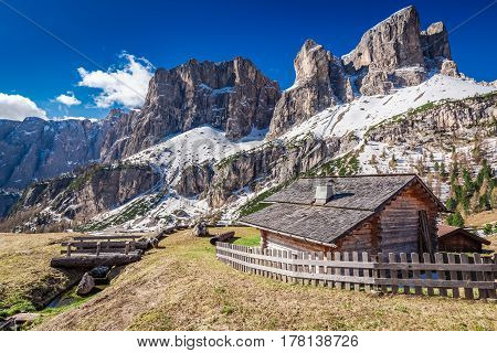 Small Mountain Hut In The Dolomites At Sunrise, Italy, Europe