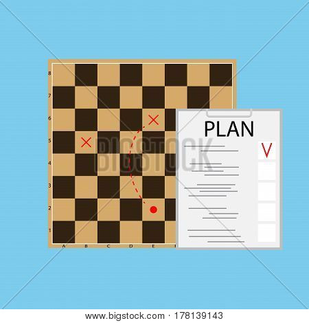 Tactic plan business. Checkerboard and organization vector illustration