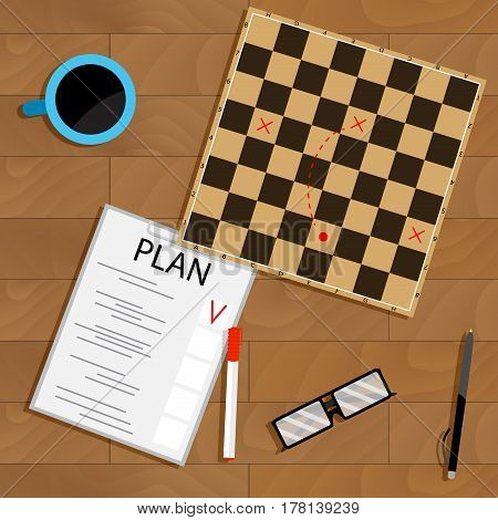 Tactic and strategy business plan. Organization business guide vector illustration