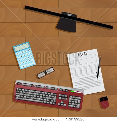 Online registration of tax form. Taxation financial paperwork keyboard and computer. Vector illustration