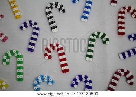 Candy canes made from hama beads in different colours