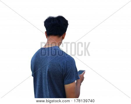 Man is selfie himself on white background