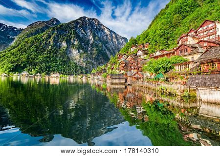 Breathtaking Dawn At Mountain Lake In Hallstatt, Alps, Austria, Europe