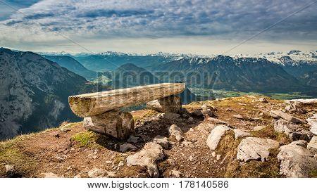 Bench In Top Of The Loser Peak, Alps, Austria, Europe