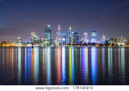 The lights of Perth City reflect in the Swan River. Perth, Western Australia. 2nd April, 2016.