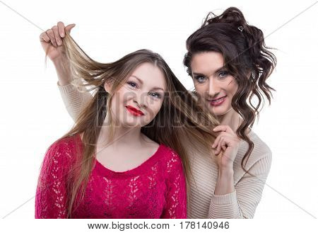 Hairstylist and happy client on white background