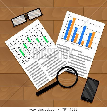 Chart and diagram on table. Economics forecast graphic finance vector illustration
