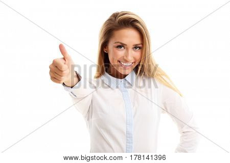 Happy woman showing ok sign over white background