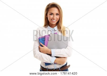 Young friendly student isolated over white background