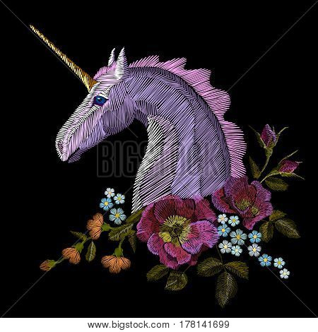Embroidery Colorful Floral Pattern With Dog Roses And Forget Me Not Flowers. Unicorn Vector Traditio