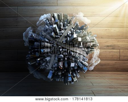 Megalopolis Aerial View 3D Render Image On Wood With Clouds