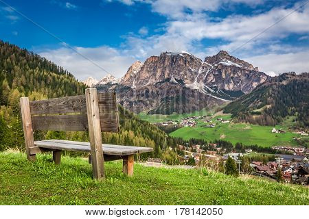 Small Wooden Bench In Dolomites, Alps, Italy, Europe