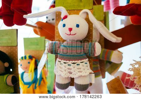 Textile handmade toy tilde spring bunny. Easter decorations. Handmade doll.
