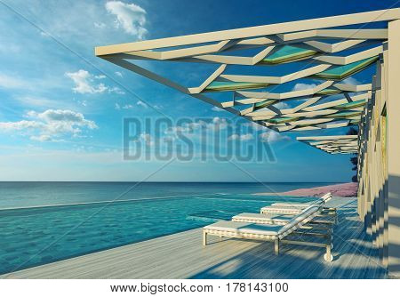 Swimming pool and Partition with a view on Andaman sea- 3d rendering