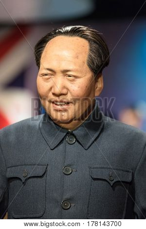 Bangkok - Jan 29: A Waxwork Of Mao Zedong On Display At Madame Tussauds On January 29, 2016 In Bangk