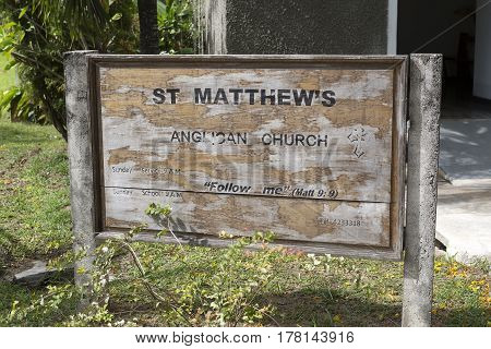 Sign At Saint Matthews Church, Praslin Island