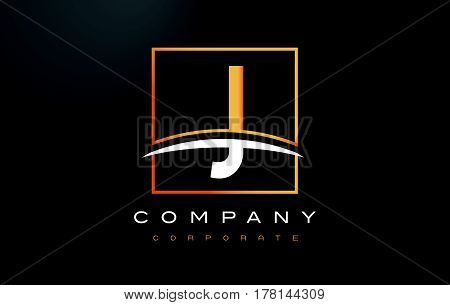 J Golden Letter Logo Design With Gold Square And Swoosh.