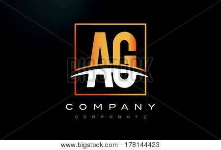 Ag A G Golden Letter Logo Design With Gold Square And Swoosh.