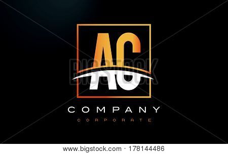 Ac A C Golden Letter Logo Design With Gold Square And Swoosh.
