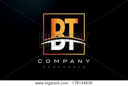 Bt B T Golden Letter Logo Design With Gold Square And Swoosh.