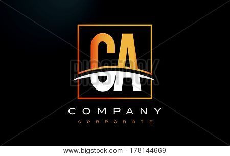 Ca C A Golden Letter Logo Design With Gold Square And Swoosh.