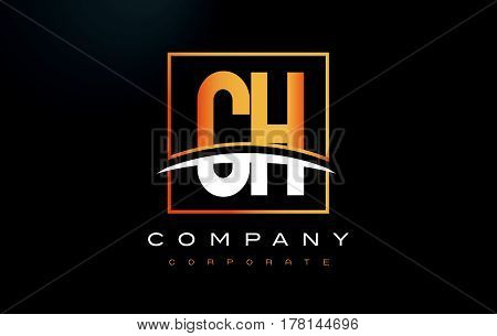 Ch C H Golden Letter Logo Design With Gold Square And Swoosh.