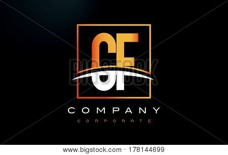 Cf C F Golden Letter Logo Design With Gold Square And Swoosh.