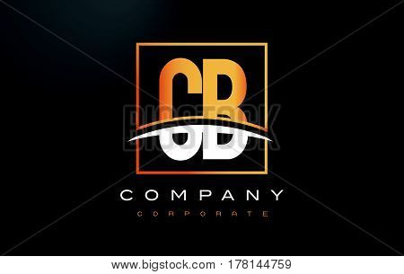 Cb C B Golden Letter Logo Design With Gold Square And Swoosh.