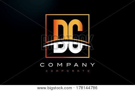 Dc D C Golden Letter Logo Design With Gold Square And Swoosh.
