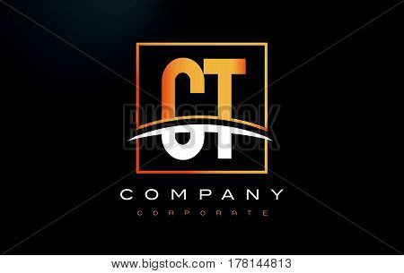 Ct C T Golden Letter Logo Design With Gold Square And Swoosh.