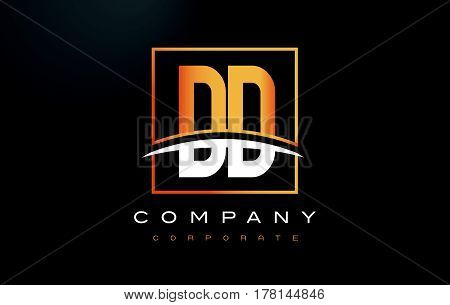 Dd D D Golden Letter Logo Design With Gold Square And Swoosh.