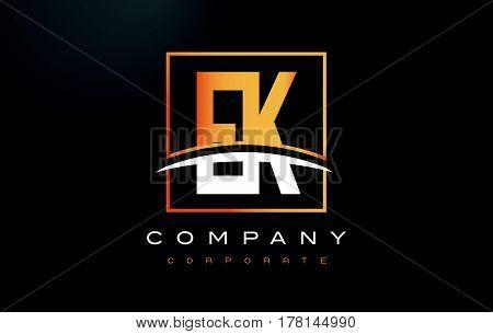 Ek E K Golden Letter Logo Design With Gold Square And Swoosh.
