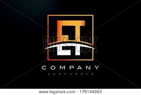 Et E T Golden Letter Logo Design With Gold Square And Swoosh.
