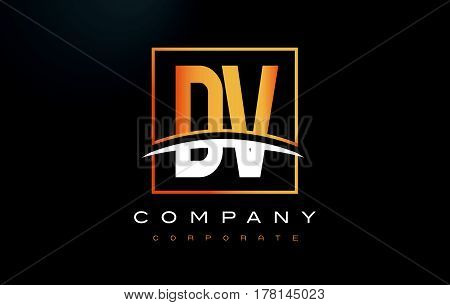 Dv D V Golden Letter Logo Design With Gold Square And Swoosh.