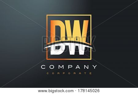 Dw D W Golden Letter Logo Design With Gold Square And Swoosh.