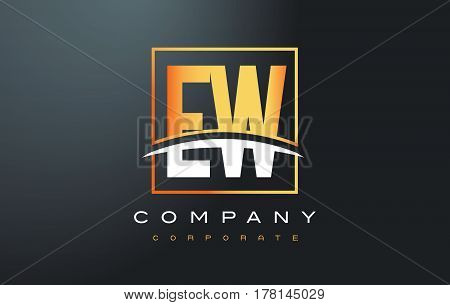 Ew E W Golden Letter Logo Design With Gold Square And Swoosh.