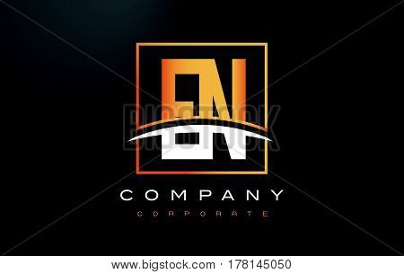 En E N Golden Letter Logo Design With Gold Square And Swoosh.