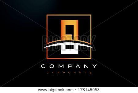 EI E I Golden Letter Logo Design with Swoosh and Rectangle Square Box Vector Design. poster