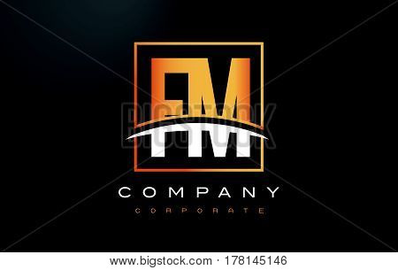 Fm F M Golden Letter Logo Design With Gold Square And Swoosh.