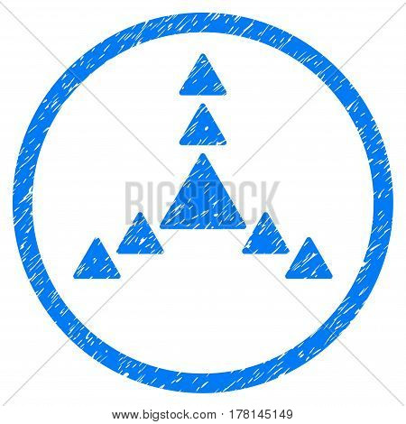 Direction Triangles grainy textured icon inside circle for overlay watermark stamps. Flat symbol with scratched texture.