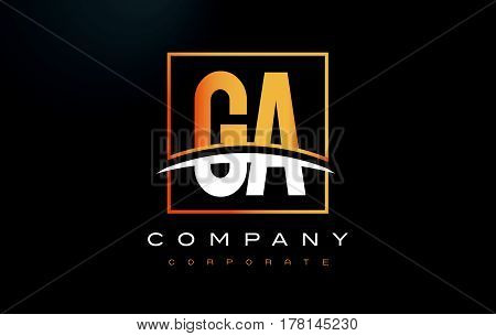 Ga G A Golden Letter Logo Design With Gold Square And Swoosh.