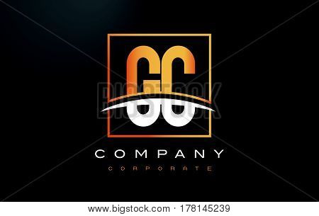 GC G C Golden Letter Logo Design with Swoosh and Rectangle Square Box Vector Design. poster