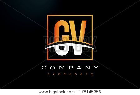 Gv G V Golden Letter Logo Design With Gold Square And Swoosh.