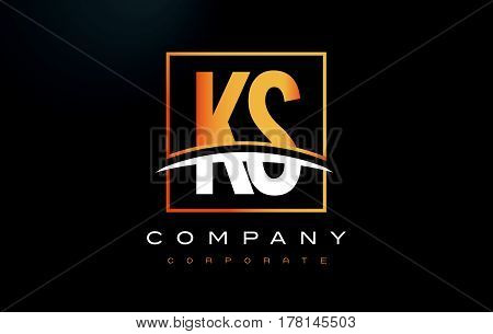 Ks K S Golden Letter Logo Design With Gold Square And Swoosh.