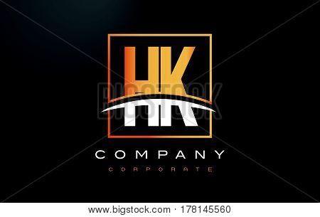 Hk H K Golden Letter Logo Design With Gold Square And Swoosh.