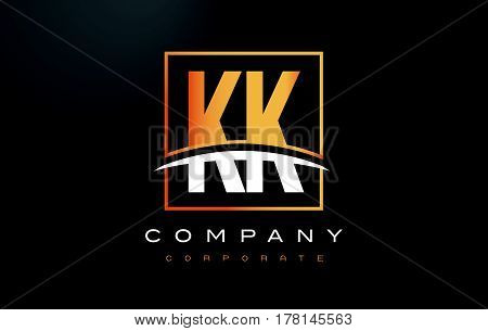 Kk K K Golden Letter Logo Design With Gold Square And Swoosh.