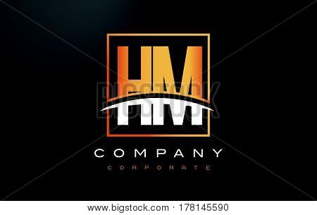 Hm H M Golden Letter Logo Design With Gold Square And Swoosh.