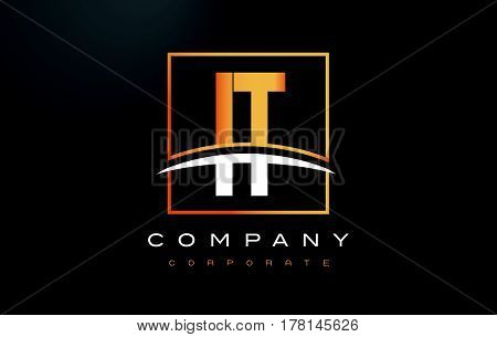 It I T Golden Letter Logo Design With Gold Square And Swoosh.