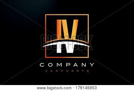Iv I V Golden Letter Logo Design With Gold Square And Swoosh.